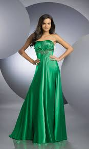 ruched satin strapless elegant green prom dresses 2012 handmade