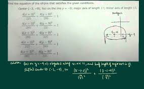 ellipse conic sections find equation of ellipse given major axis minor axis foci and center