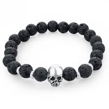 silver bracelet with black stones images Matto silver skull bracelet black stone ice moda jpg