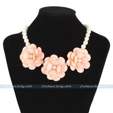 pink collar necklace images Acrylic pearl flower chain choker chunky statement bib collar JPG