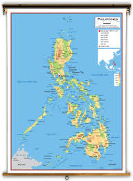 Physical Map Of Asia by Philippines Physical Educational Wall Map From Academia Maps