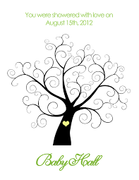 baby shower tree printable baby shower thumbprint tree personalized 14 00 via