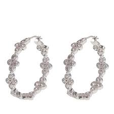 silver hoops leslie greene 1 92ctw cubic zirconia sterling silver