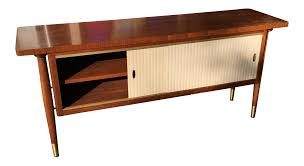 mid century modern credenza buffet console floating top legs