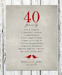 40 year wedding anniversary gift 40th anniversary gift for parents 40th ruby anniversary