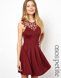 asos skater dress with laser cut neck trim in red lyst