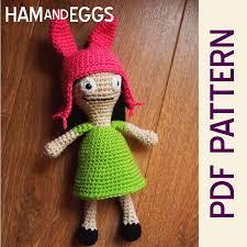 etsy crochet pattern amigurumi ravelry bobs burgers louise belcher pattern by heather jarmusz