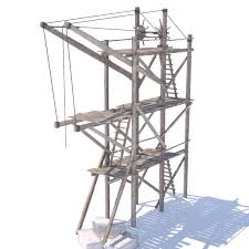 old wooden scaffolding with handle crane 3d model obj 3ds fbx hrc