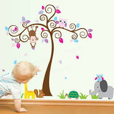 Baby Nursery Tree Wall Decals by Kids Children Baby Bedroom Decoration Jungle Tree Animal Wallpaper