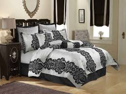 luxury country style bedroom with gray black bedding and 8pc