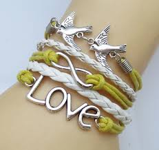 diy fashion bracelet images Fashion vintage birds leather cute love best friends rope charm jpg