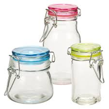 set of 3 small glass storage jar metal clamp lid air tight seal pasta fresh preserve spices condiments