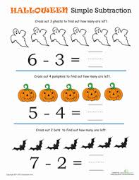 halloween math simple subtraction 1 worksheet education com