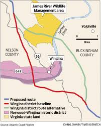 Atlantic Coast Map Updated New Pipeline Route Bypasses Wingina Historic District