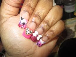 cheetah and hearts valentines day acrylic nails valentines