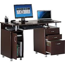 techni mobili double pedestal laminate computer desk chocolate techni mobili double pedestal laminate computer desk chocolate