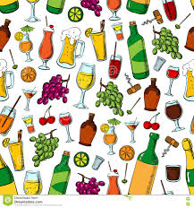 birthday party drinks and fruits seamless pattern stock vector