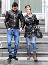 What To Wear With Light Jeans Kym Marsh And Fiancé Dan Hooper Wear Black Leather Jackets And