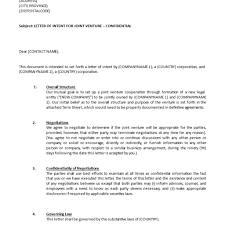 joint venture letter of intent template templates at with regard