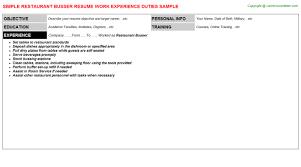 Resume Objective For Restaurant Restaurant Busser Resume Sample