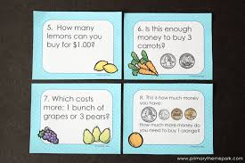 money activities for second grade primary theme park