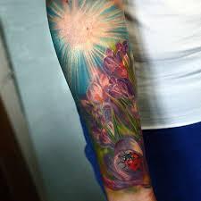 violet flowers ladybug tattoo best tattoo ideas gallery