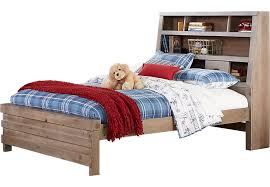 montana driftwood 4 pc twin bookcase bed twin beds light wood