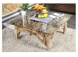 Wohnzimmertisch Leuchte Couch Tisch Holz Baumstamm Massiv Glas Wohneinrichtung