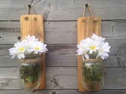 Mason Jar Wall Planter by Amazon Com Set Of Two Handmade Rustic Mason Jar Wall Sconce Light