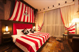 bedroom pirate bedroom decoration with red and white bed aso wall
