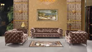 Brown Fabric Sofa Set Divani Casa Delilah Modern Brown Fabric Sofa Set