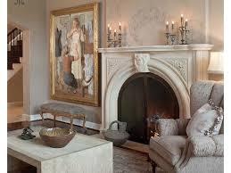 luxury living room purple armcahir cream walls antique mirror