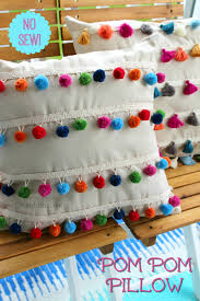 Homemade Pom Pom Decorations Diy No Sew Pom Pom Pillow No Sew Tassel Pillow