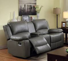 gray reclining sofa reclining sofa cm6326 in gray leatherette w options