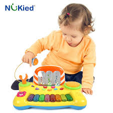 baby toys with lights and sound nukied kids music fountain electronic keyboard toy with microphone