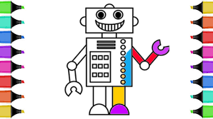 draw robot coloring book coloring pages kids
