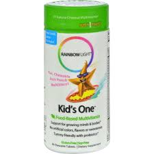 rainbow light kids one rainbow light kids one multistars fruit punch 30 chewable tablets