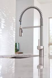 spring pull down kitchen faucet align spot resist stainless one handle pre rinse spring pulldown