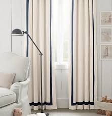 Curtain Trim Ideas Attractive White Curtains Black Trim And Navy And Trellis