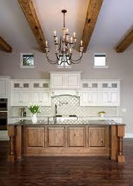 Mediterranean Kitchen Arabesque Tile Backsplash Wooden Kitchen - Kitchen backsplash wood
