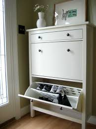 white stained wooden shoe cabinet storage organizer with pull out