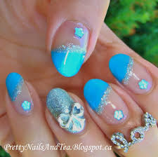 pretty nails and tea blue bow nail art favorite polish