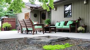 Synthetic Wood Patio Furniture by Furniture Ideas Composite Patio Furniture With Green Cushion