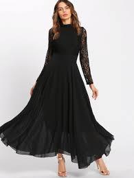 a linie v ausschnitt asymmetrisch spitze brautjungfernkleid mit blumen p495 lang kleider für damen german shein sheinside