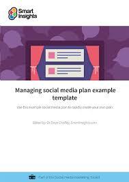managing social media plan example template smart insights