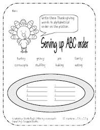 thanksgiving abc order and guide words pack cc l 2 2e l 3 2 g l