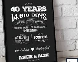 40th anniversary gifts for parents 40 year anniversary etsy