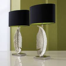 Bedside Table Lamp by Furniture Silver Leaves With Round Dark Black Bedside Table Lamps