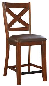 counter height bar stool with upholstered seat and x back by