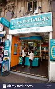 the shop bureau de change in a eurochange bureau de change travel shop stock